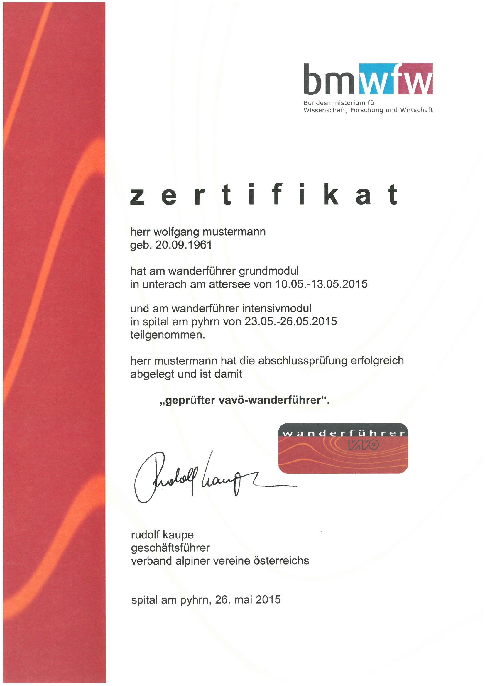 Zertifikat für Wanderführer