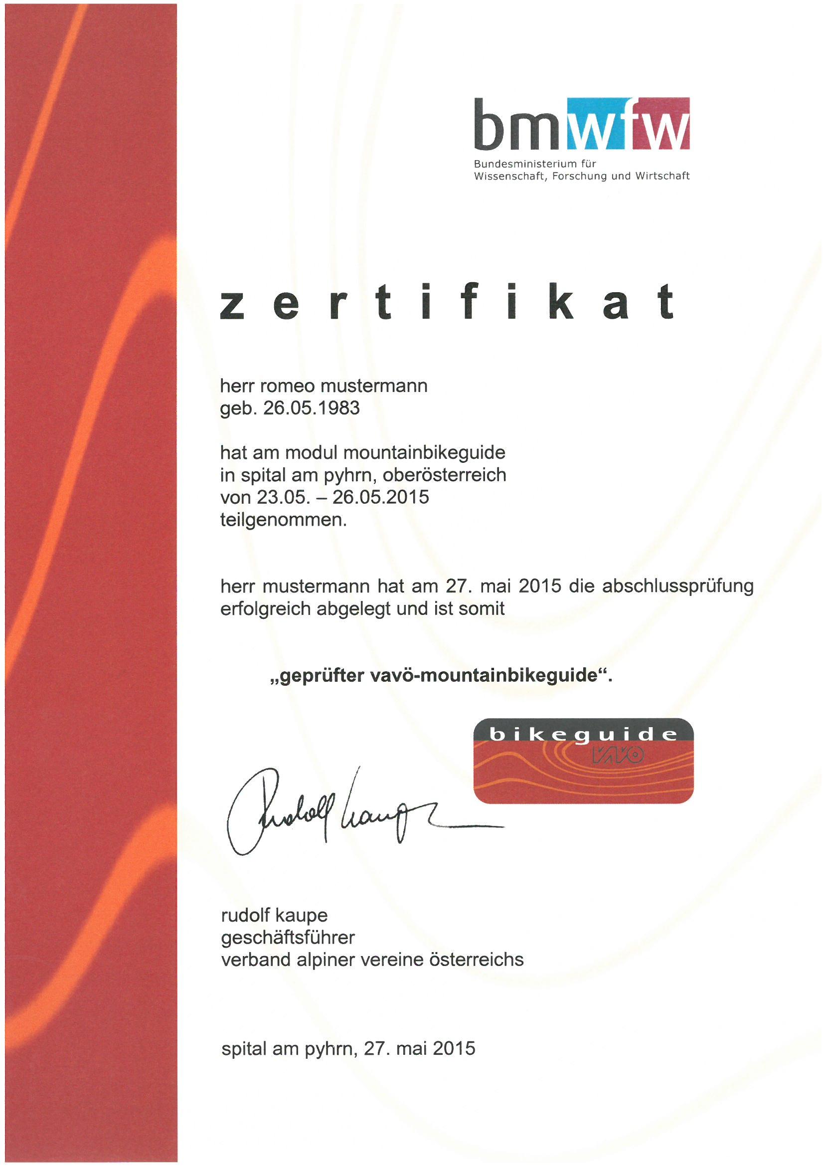 Zertifikat für den Bikeguide