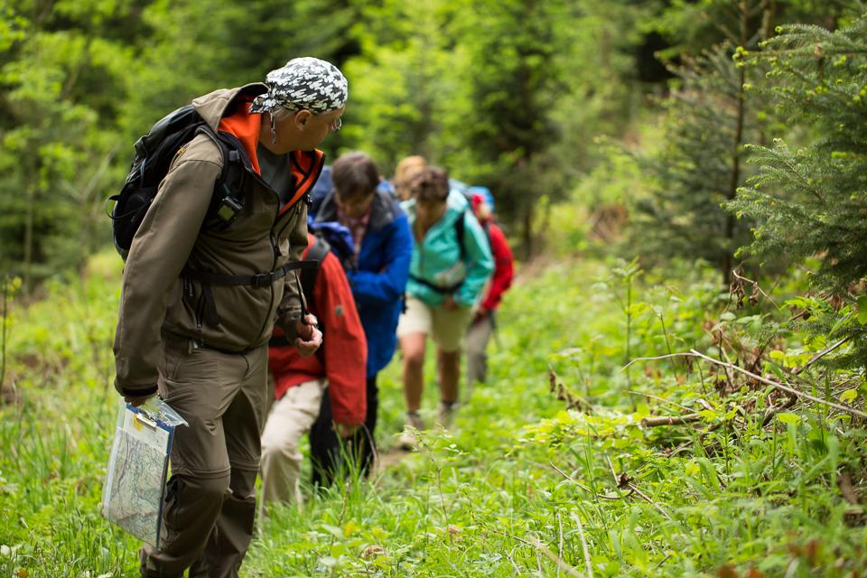 Wanderführer mit Gruppe